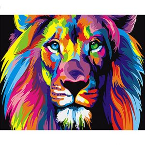 Abstract-DIY-Painting-Colourful-Lion