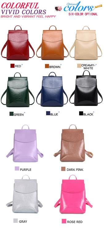 Fashionable Women's Leather Backpack - Colour
