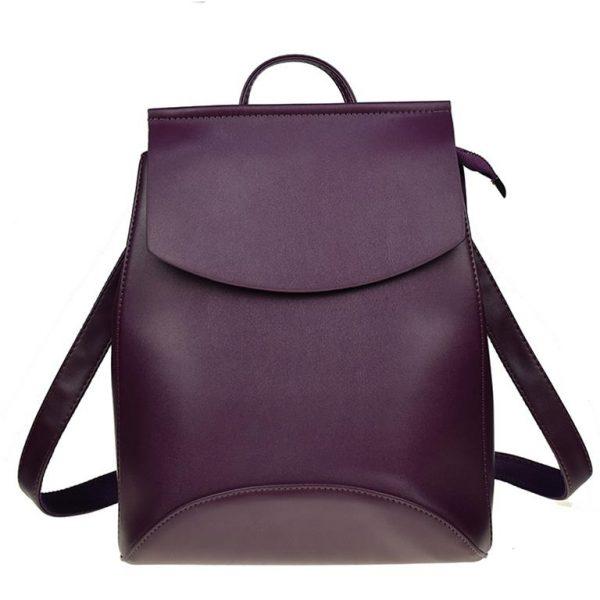 Fashionable Women's Leather Backpack - Dark Purple