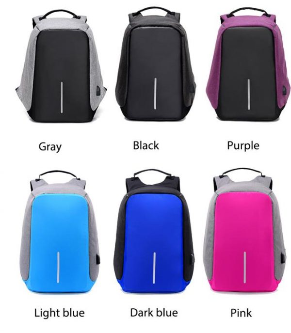 Men's Backpack with USB Charge Port - Colours