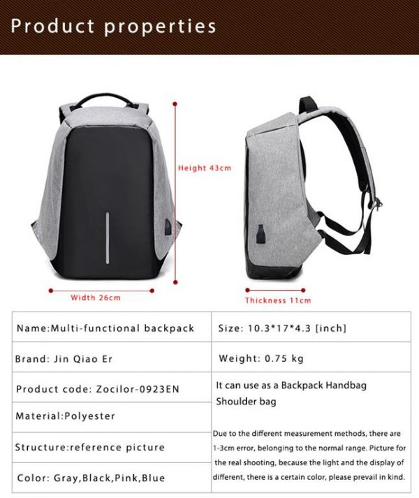 Men's Backpack with USB Charge Port - Properties
