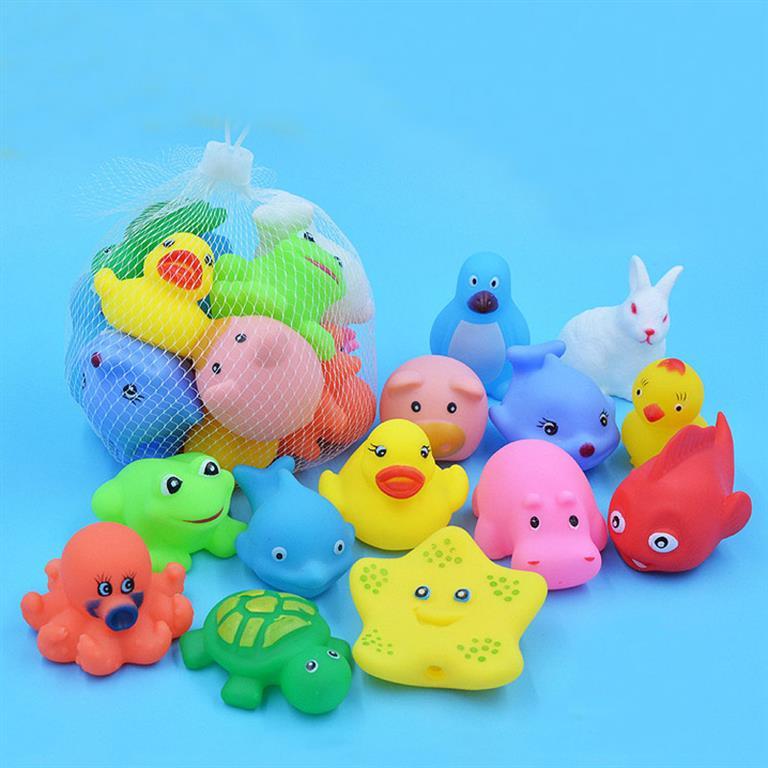 Colourful Soft Rubber Bath Toys - 13pc
