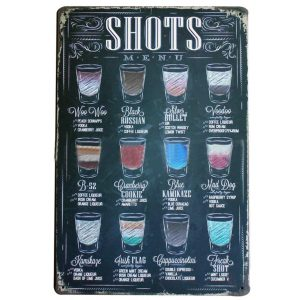 Vintage Metal Sign - Shots Menu