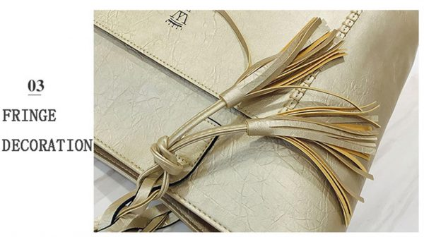Women's PU Leather Shopping Bag - With Tassel