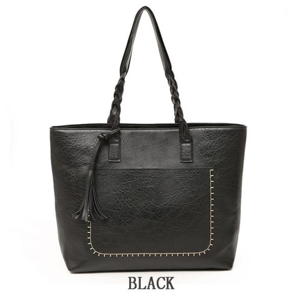 Women's PU Leather Shopping Bag - With Tassel - Black