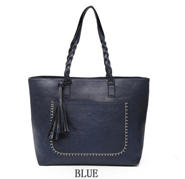 Women's PU Leather Shopping Bag - With Tassel - Blue