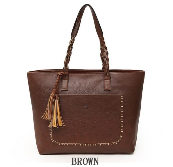 Women's PU Leather Shopping Bag - With Tassel - Brown