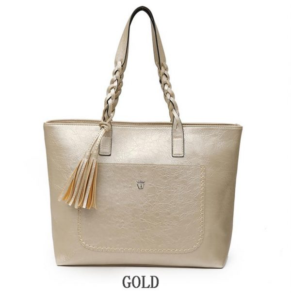 Women's PU Leather Shopping Bag - With Tassel - Gold