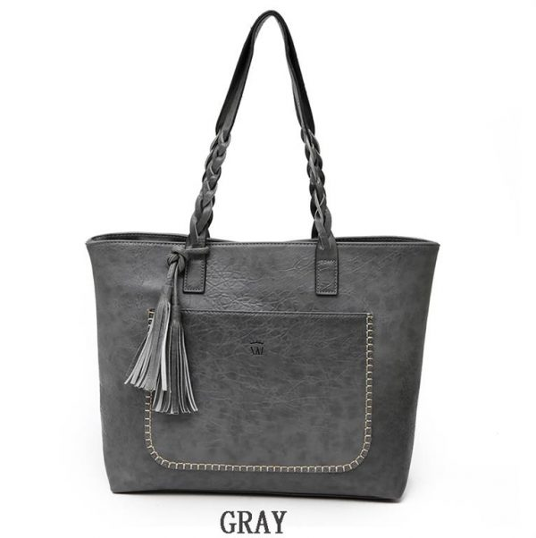 Women's PU Leather Shopping Bag - With Tassel - Gray