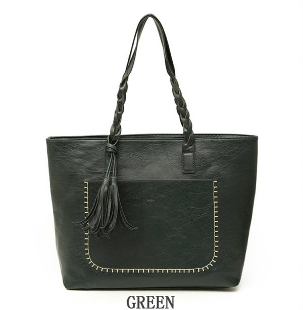 Women's PU Leather Shopping Bag - With Tassel - Green