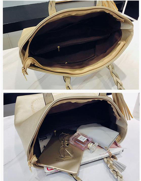 Women's PU Leather Shopping Bag - With Tassel - Inside