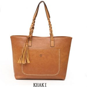 Women's PU Leather Shopping Bag - With Tassel - Khaki