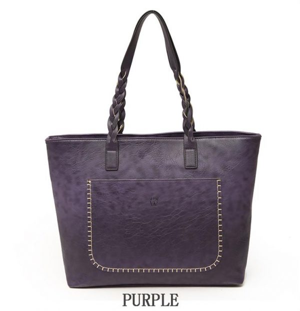 Women's PU Leather Shopping Bag - With Tassel - Purple
