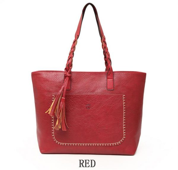 Women's PU Leather Shopping Bag - With Tassel - Red