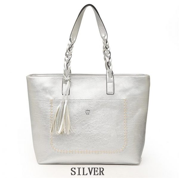 Women's PU Leather Shopping Bag - With Tassel - Silver