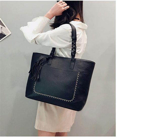 Women's PU Leather Shopping Bag - With Tassel 1