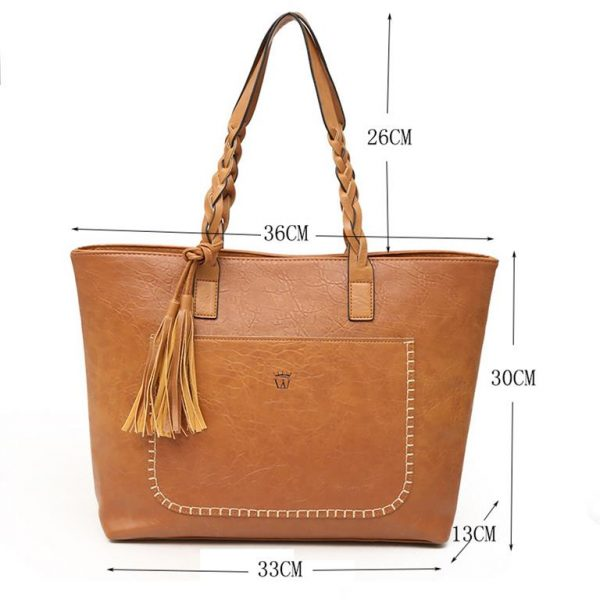 Women's PU Leather Shopping Bag - With Tassel 2