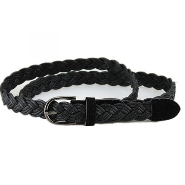 Women's Braided Rope Belt - Black