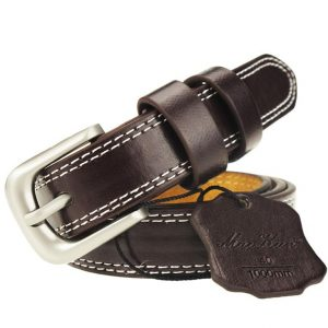 Women's Retro Cowskin Belt - Coffee