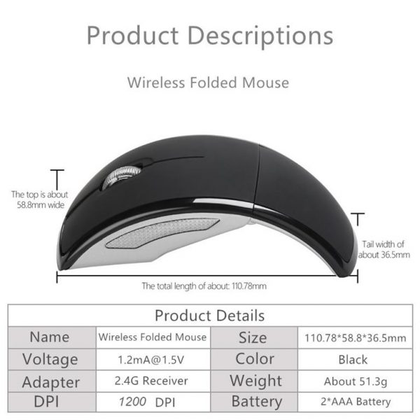 Foldable Computer Travel Mouse - 1