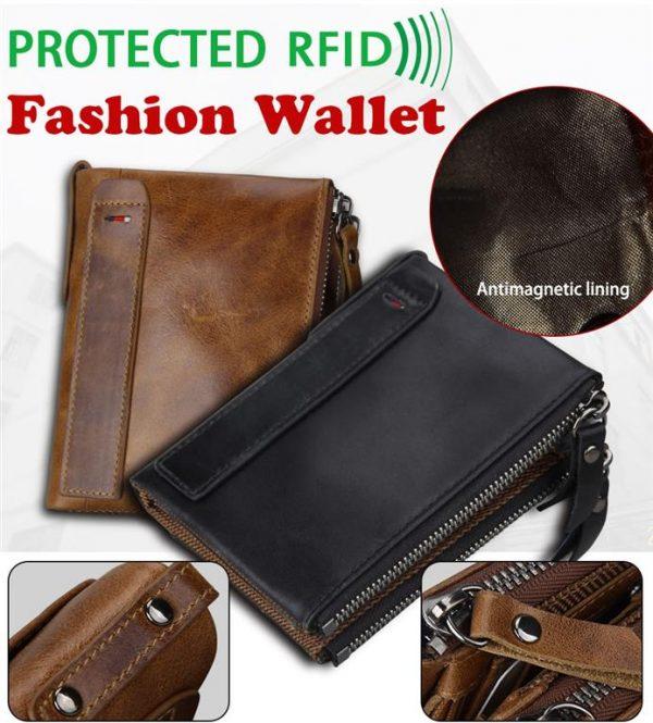 Large Genuine Leather Men's Wallet - rfid