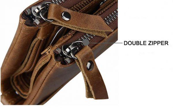 Large Genuine Leather Men's Wallet - zipper
