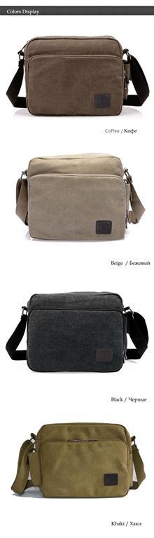 Men's Canvas Crossbody Messenger Bag - Colours