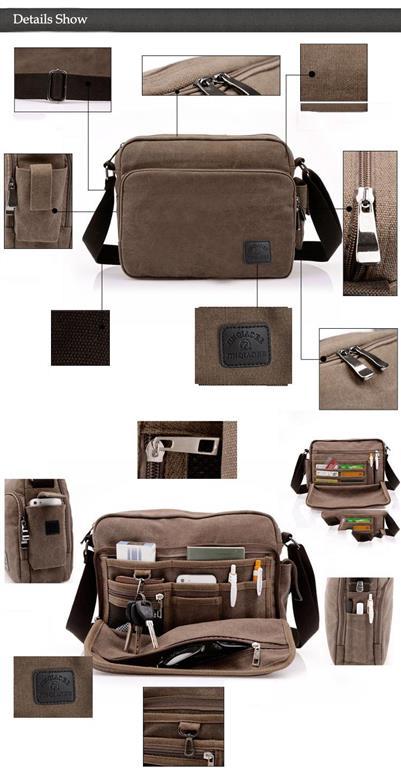 Men's Canvas Crossbody Messenger Bag - Details