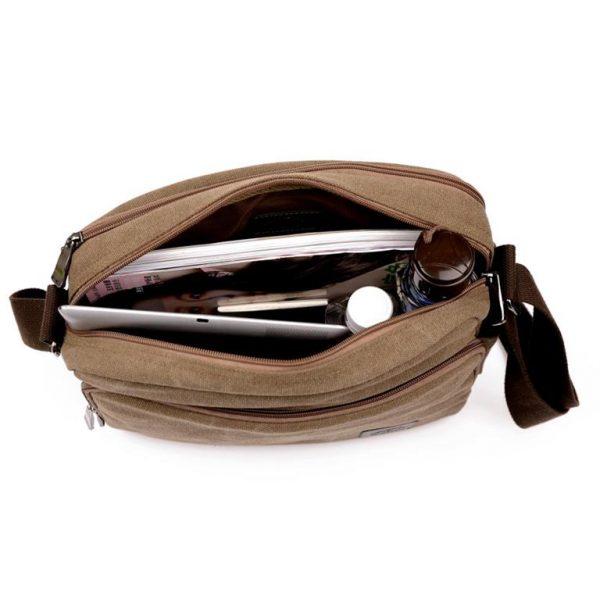 Men's Canvas Crossbody Messenger Bag - Interior