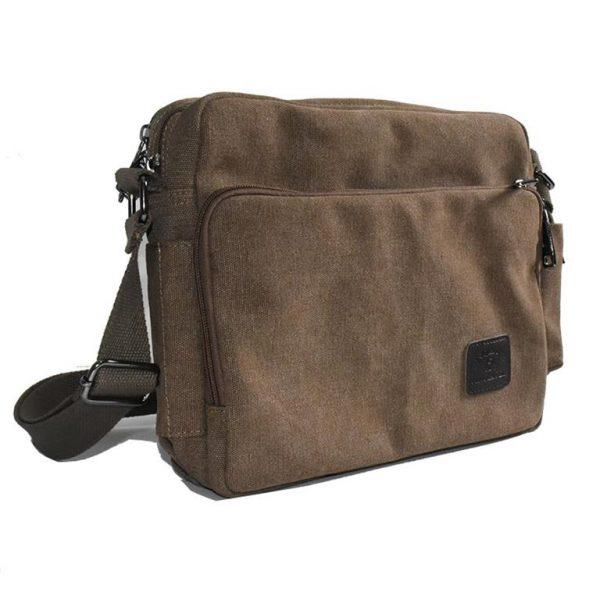 Men's Canvas Crossbody Messenger Bag - Side