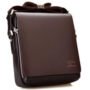 Men's Leather Messenger Crossbody Bag