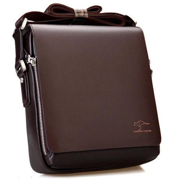 Men's Leather Messenger Crossbody Bag