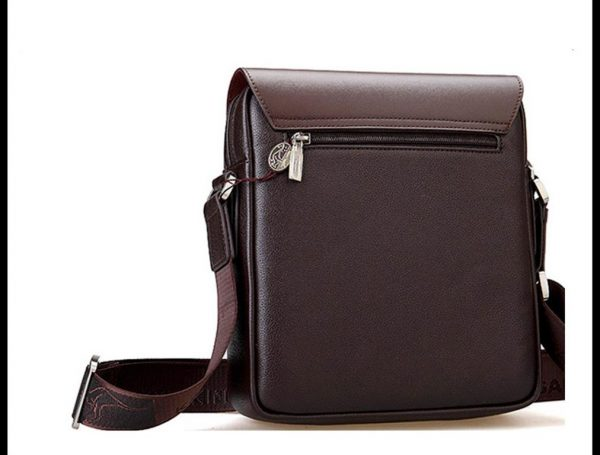 Men's Leather Messenger Crossbody Bag - Back