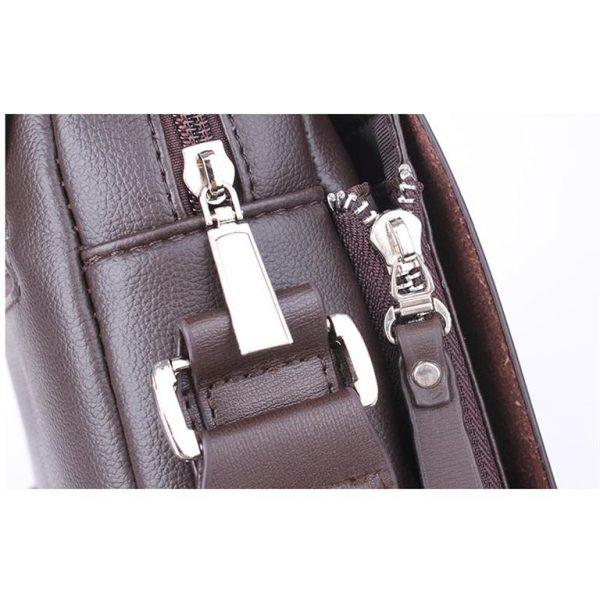 Men's Leather Messenger Crossbody Bag - Detail 2
