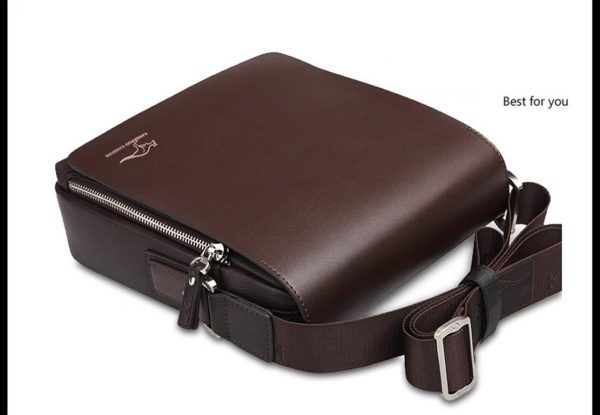 Men's Leather Messenger Crossbody Bag - Down