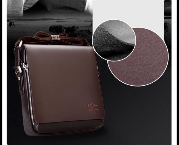 Men's Leather Messenger Crossbody Bag - Grey