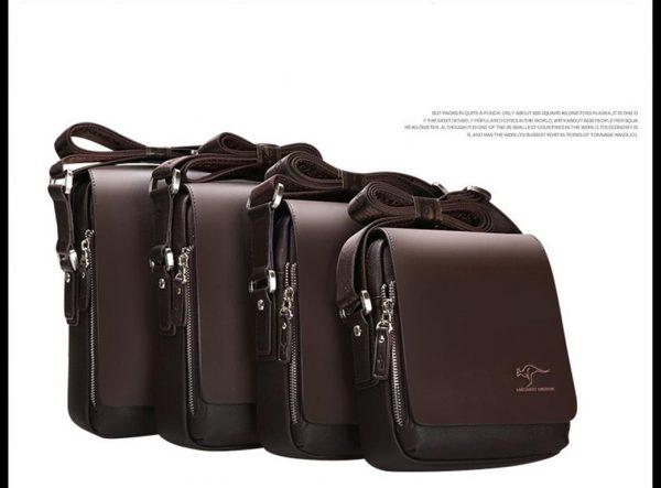 Men's Leather Messenger Crossbody Bag - Size