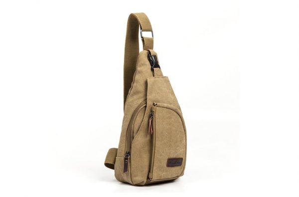 Men's Military Canvas Shoulder Bag - Khaki