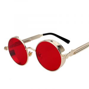 Round Retro Steampunk Metal Sunglasses