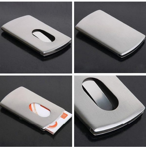Stainless Steel Business Card Holder - MultiView