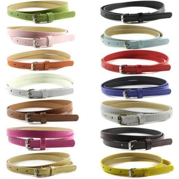 Women Faux Leather Thin Belts