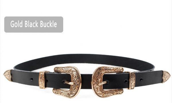 Women's Carved Double Buckle Belt 1