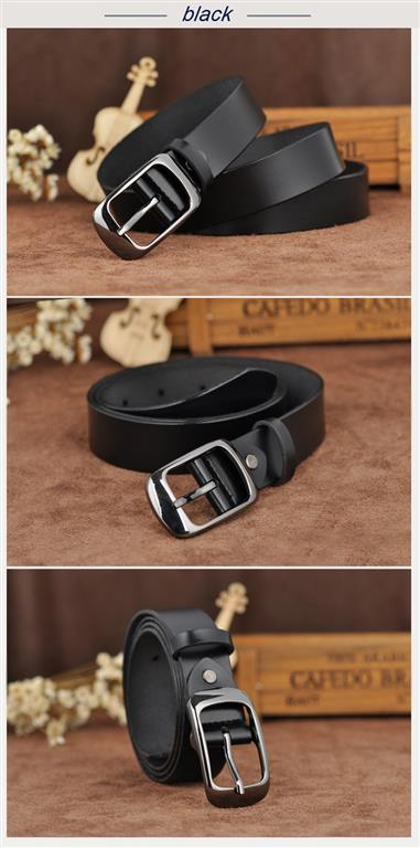Women's Genuine Leather Fashion Belt - Black