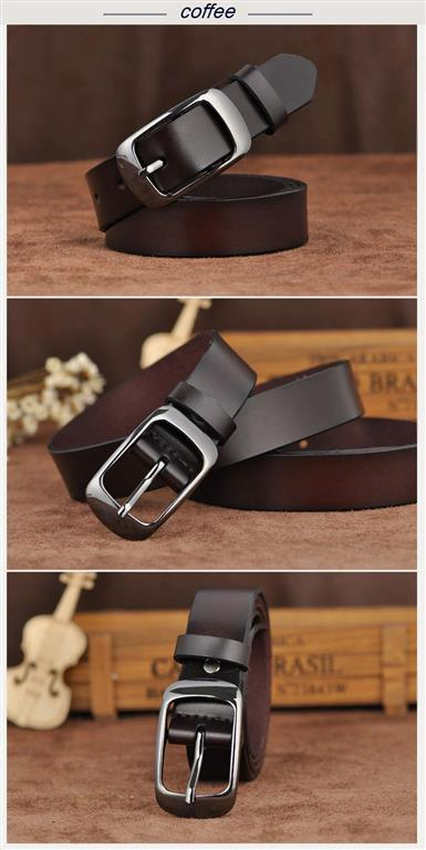 Women's Genuine Leather Fashion Belt - Coffee