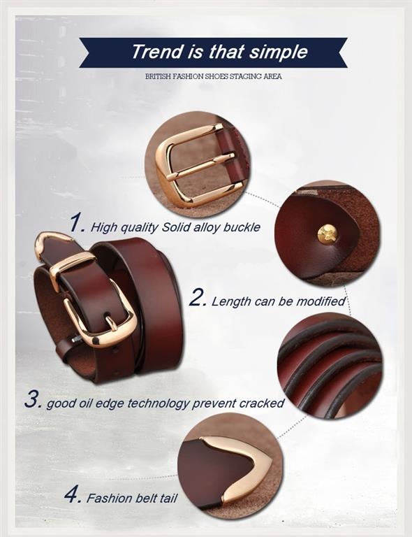 Women's Genuine Leather Fashion Belt - Details 1