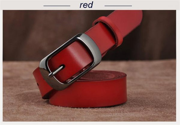 Women's Genuine Leather Fashion Belt - Red