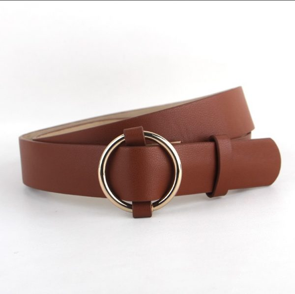 Women's Pin Buckle Belt - Brown Round