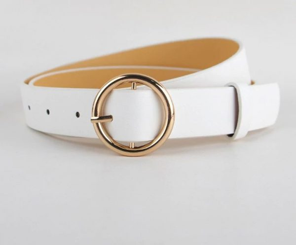 Women's Pin Buckle Belt - White Round