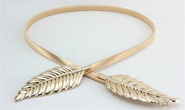 Women's Skinny Metallic Belt - Gold Front