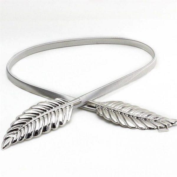 Women's Skinny Metallic Belt - Silver